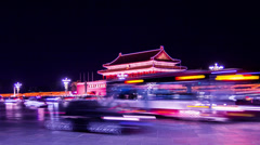 The busy traffic on Changan Avenue near Tiananmen Tower, Beijing, China - stock footage