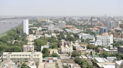 High viewpoint of Khartoum city, Sudan Stock Footage