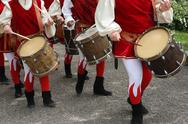 Stock Photo of drums and musicians with ancient medieval costumes during the parade in the v