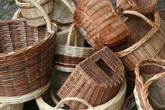 Pile of wicker baskets for sale at the local flea market Stock Photos
