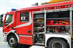 Fire truck parked after switching off of a fire Stock Photos