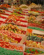 Sweet and sugary sweets of all tastes and colours for sale at the market Stock Photos