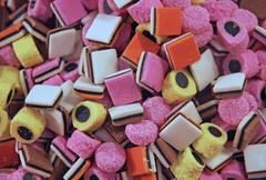 Sugary and sweet licorice for sale at the market Stock Photos