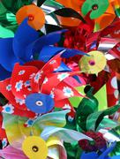 Colorful pinwheels for sale in toy store Stock Photos