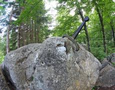 legendary and famous sword to king stuck between the rock - stock photo