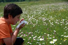 Allergic child to pollen and flowers with a handkerchief while sneeze in the Stock Photos