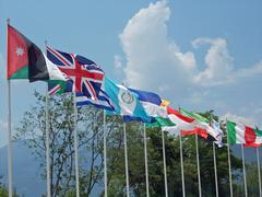 Set of coloured flags of many nations of the world Stock Photos