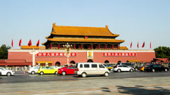 The Tiananmen Square and the traffic in Beijing, China Stock Footage