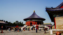 Tourists at Echo Wall of The Temple of Heaven, Beijing, China Stock Footage
