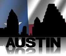 austin skyline and text reflected with rippled texan flag illustration - stock illustration