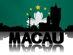 Macau skyline and text reflected with rippled flag illustration Stock Illustration