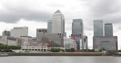 Ultra HD 4K Canary Wharf Skyline Thames River London One Canada Square Office Stock Footage