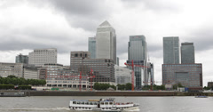Ultra HD 4K One Canada Square Financial District London England Tour Boat Pass Stock Footage