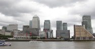 Ultra HD 4K London Canary Wharf Skyline Financial District British Boat Passing Stock Footage