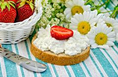 Bread with curd cream and strawberries on a green napkin Stock Photos