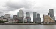 Ultra HD 4K London Financial Hub Canary Wharf Skyline Thames River Corporate UK Stock Footage