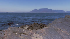 Table Mountain from Robben Island Stock Footage