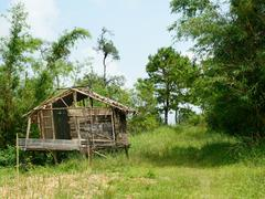 bamboo hut of muser hill tribe. - stock photo