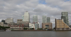 Ultra HD 4K London Skyline Canary Wharf Corporate Office One Canada Square Boat Stock Footage