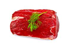 meat beef whole piece with dill - stock photo