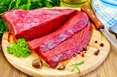 Meat of a beef on the board with nutmeg Stock Photos