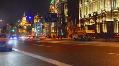 Huangpu River Bund at night in Shanghai - stock footage