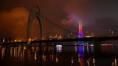 Liede Bridge in Guangzhou, China Stock Footage