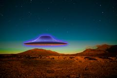 flying ufo - stock photo