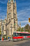 Cathedral and  streetcar Stock Photos