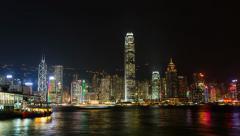 Timelapse Impressive skyline HongKong by Night h264-420 1080p UHQ - stock footage