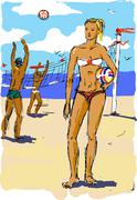 Beach volleyball Stock Illustration