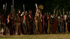 Celt army night 04 Stock Footage