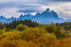 fall in grant tetons national park - stock photo