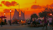 Stock Video Footage of Fiery sunset over Key West sunset celebration