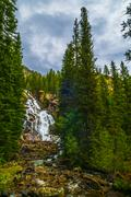 hidden falls - grant teton - stock photo