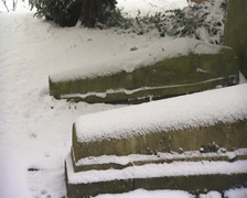 Graves in snow pan Stock Footage