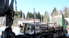 626 log forwarder slowly unloading the logs from the green truck Stock Footage