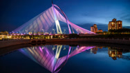 Stock Video Footage of Timelapse Wawasan Bridge Awesome Lighting Display, 1080p