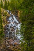 hidden falls - grant teton - stock photo