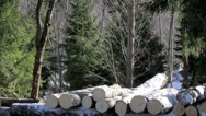 Three more medium sized logs added to the pile of logs Stock Footage