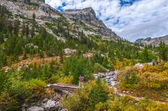 hiking cascade canyon - grant tetons - stock photo