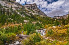 Hiking cascade canyon - grant tetons Stock Photos