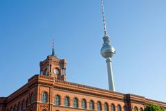 Townhall and the television tower - stock photo