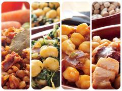 spanish legume stews collage - stock photo