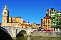 nervion river and san anton church in bilbao, spain - stock photo