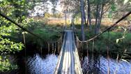 Walking steadily on the hanging bridge Stock Footage
