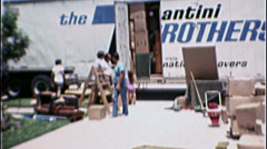 MOVING DAY Van Packing Relocating Family 1970s Vintage 8mm Film Home Movie 7307 - stock footage