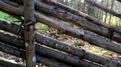 700 old wood used as fence Stock Footage