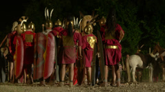Roman camp night 03 Stock Footage