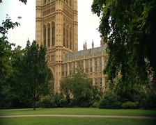 Houses of Parliament from Victoria Tower Gardens Stock Footage